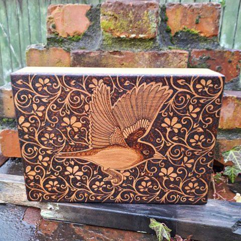 Butterfly Pokerwork Wooden Box