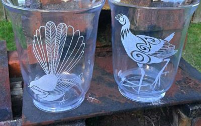 Glass Etched Hurricane Lamps
