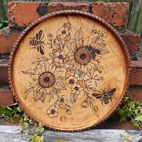 Round Tray etched with Flowers
